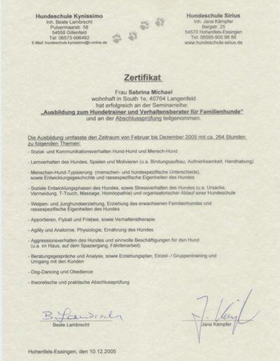 Zertifikakat Hundetrainer